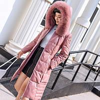 Новый кожаный пуховик из овчины ,толстое пальто с лисьим мехом
