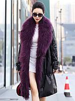 Новый зимний кожаный пуховик, женская куртка, меховое пальто
