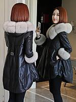 Кожаная куртка ,женский пуховик с меховым воротником