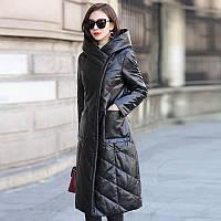 Beveren Новинка зимы 2019, кожаный пуховик Haining, женская кожаная куртка средней длины, тонкий воротник без волос с капюшоном