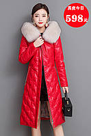 Кожаный пуховик, женская куртка с капюшоном 2 цвета