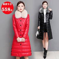 Зимний тонкий кожаный пуховик Haining, женская кожаная куртка с длинными лацканами выше колена, легкое и замшевое кожаное пальто в корейском стиле