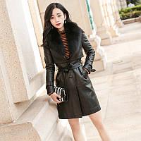 Женское пальто средней длины, из овечьей кожи