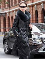 Женский пуховик из натуральной кожи, тонкое пальто с воротником из лисьего меха