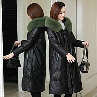 Модный удлиненный пуховик из овчины, куртка свободная большого размера