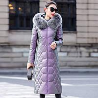 Женский кожаный пуховик , с воротником из лисьего меха, пальто