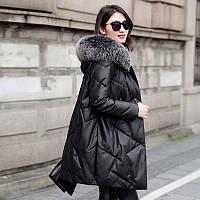 Женский свободный кожаный пуховик ,зимнее пальто из овечьей кожи