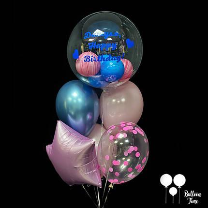 Фонтан для именинницы с пластиковым шаром и индивидуальной надписью., фото 2