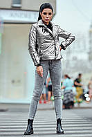 Куртка-косуха женская демисезон,в расцветках (р-ры 42-50) цвет серебро