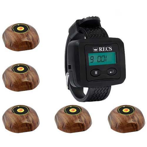 Система виклику офіціанта RECS №5   кнопки виклику офіціанта 5 шт + пейджер офіціанта