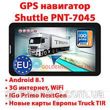 Автомобильный GPS навигатор планшет Shuttle PNT-7045 с 3G  Android 8.1 с картами Европы Igo Next TIR CPA