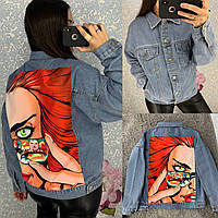 Женская джинсовая куртка Harajuku голубая