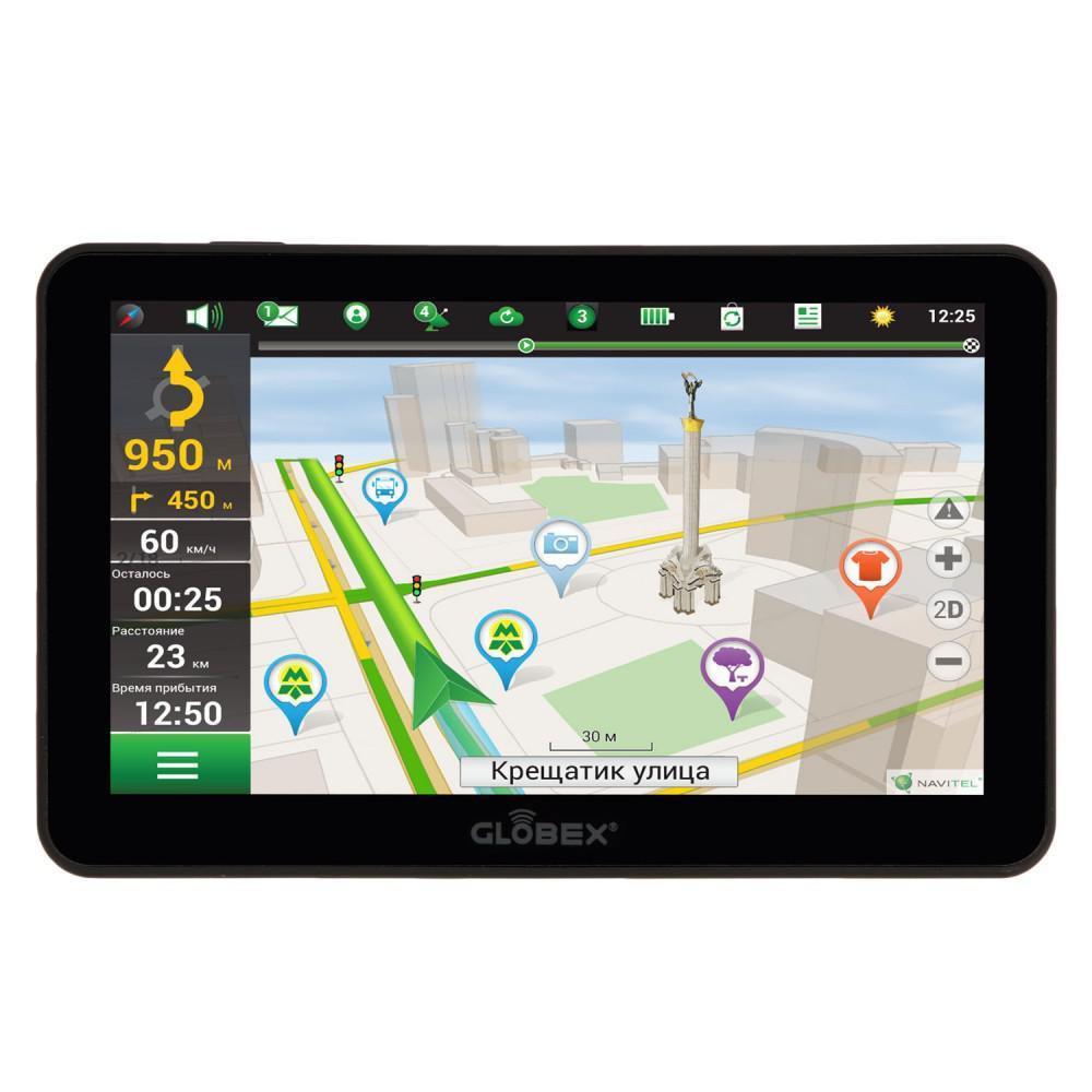 """Автомобільний навігатор Globex GE711+ Навлюкс7"""" TFT, 800x480, microSD (до 8Gb), miniUSB,  Карта Навлюкс,"""