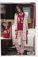 """Жіноча піжама-трієчка(футболка,брючки та халатик) """"SEXEN""""Туреччина Art:-22003"""