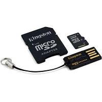 Карта памяти Kingston 32Gb microSDHC class 4 + SD-adapter + USB-reader (MBLY4G2/32GB)