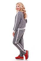 Ангоровый жіночий спортивний утеплений костюм батал темно-сірий колір розмір від 52 до 58, фото 2