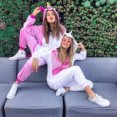 Кигуруми - Бело-розовый Единорог - Одежда для дома - Пижама женская, пижама теплая Premium Velsoft