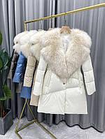 Кожаная куртка женская модная с большим воротником 4 цвета