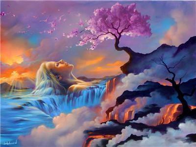 "Картина за номерами RA3300_O 40*50см ""Сакура на скелі"" OPP (полотно на рамі з фарбами.кисті)"