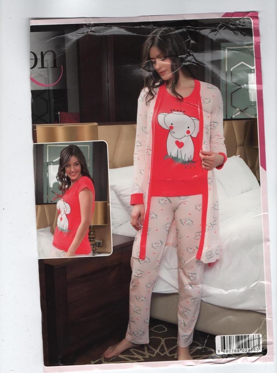 """Жіноча піжама-трієчка(футболка,брючки та халатик) """"SEXEN""""Туреччина Art:-22004"""