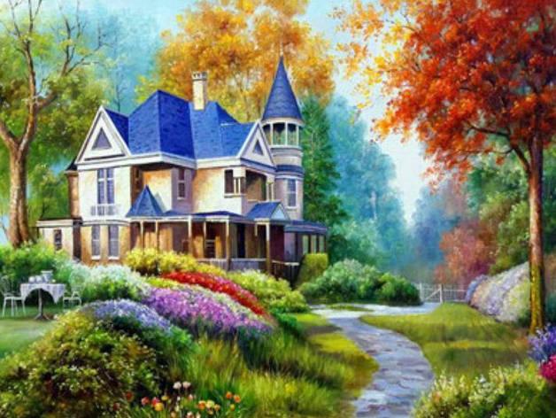 """Картина по номерам RA3180_O 40*50см """"Дом в лесу"""" OPP (холст на раме с краск.кисти), фото 2"""