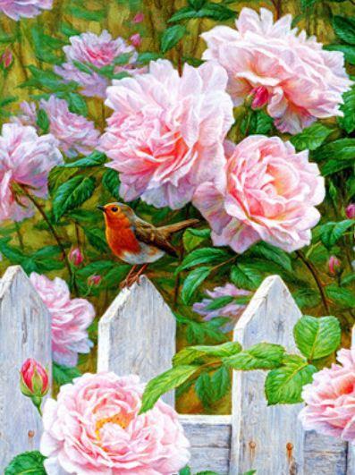 """Картина по номерам RA3172_O 40*50см """"Птичка в саду"""" OPP (холст на раме с краск.кисти)"""