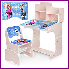 Детская парта со стульчиком Растишка с регулировкой высоты и наклона Frozen Холодное сердце Bambi W 2071-69-3