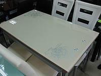 Стол стеклянный обеденный С 178 бежевый, фото 1
