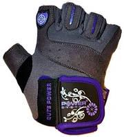 Перчатки для фитнесса женские. Улучшенный хват POWER SYSTEM Синий Фиолетовый