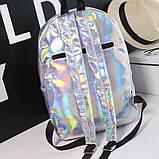 Женский большой голографический блестящий рюкзак школьный портфель фиолетовый, фото 6
