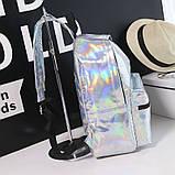 Женский большой голографический блестящий рюкзак школьный портфель фиолетовый, фото 7