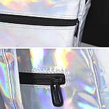 Женский большой голографический блестящий рюкзак школьный портфель фиолетовый, фото 8