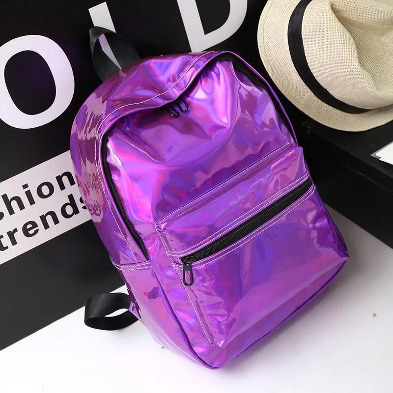 Женский большой голографический блестящий рюкзак школьный портфель фиолетовый