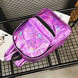 Женский большой голографический блестящий рюкзак школьный портфель фиолетовый, фото 4