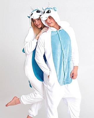 Кигуруми пижама - нежный Бело-голубой Единорог - Пижама Premium Velsoft