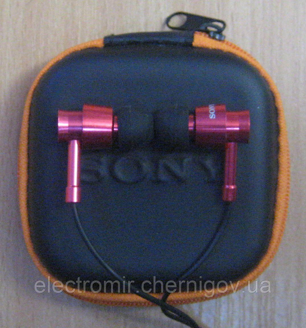 Наушники вакуумные Sony с чехлом (красные)
