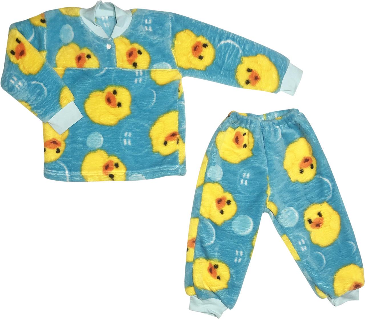 Дитяча тепла піжама ріст 98 2-3 роки махрова бірюзова на хлопчика дівчинку для малюків Б841