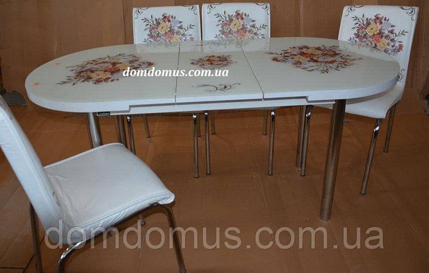 """Комплект обідній меблів """"Buket"""" (стіл овальний ДСП, гартоване скло + 4 стільця) Mobilgen, Туреччина"""