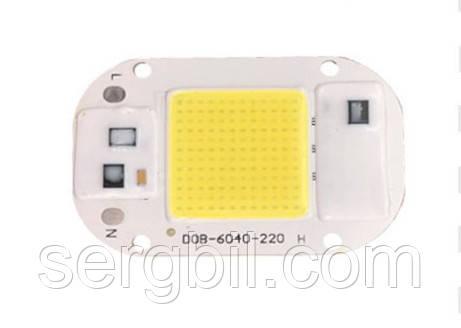 Світлодіод 20Вт 220В білий 6500К 40х60мм LED матриця COB
