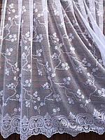 Тюль готовая пошитая с тесьмой белая 190х300 код 01485, фото 1