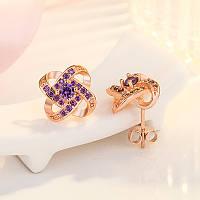 Сережки з красивим плеттінням, медсплав, жіночі  сережки  FS1741-90