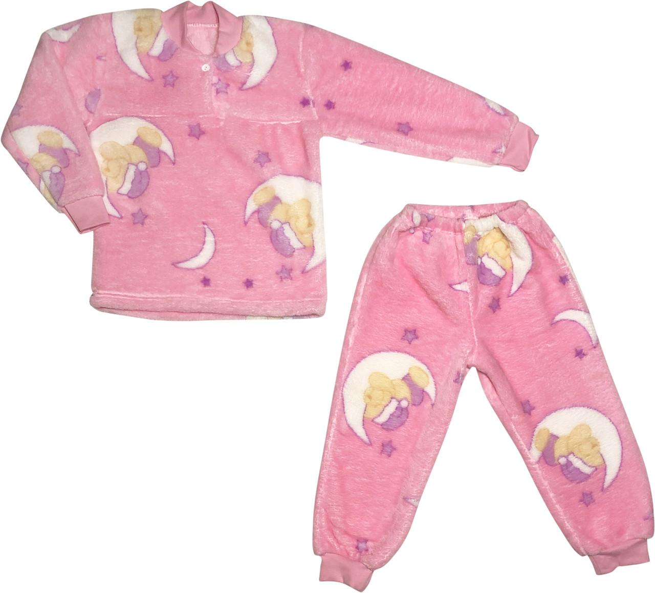Детская тёплая пижама рост 104 3-4 года махровая розовая на девочку для детей Р841