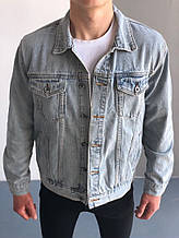 Мужская джинсовка, синяя джинсовая куртка, классическая светло-синяя джинсовка