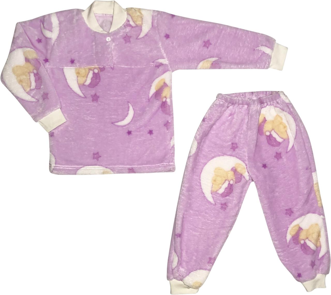 Дитяча тепла піжама зростання 110 4 роки-5 років махра бузковий на дівчинку для дітей Ф-841