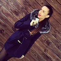"""Утепленное зимнее пальто """"Кобра"""" с мехом. Т-135"""