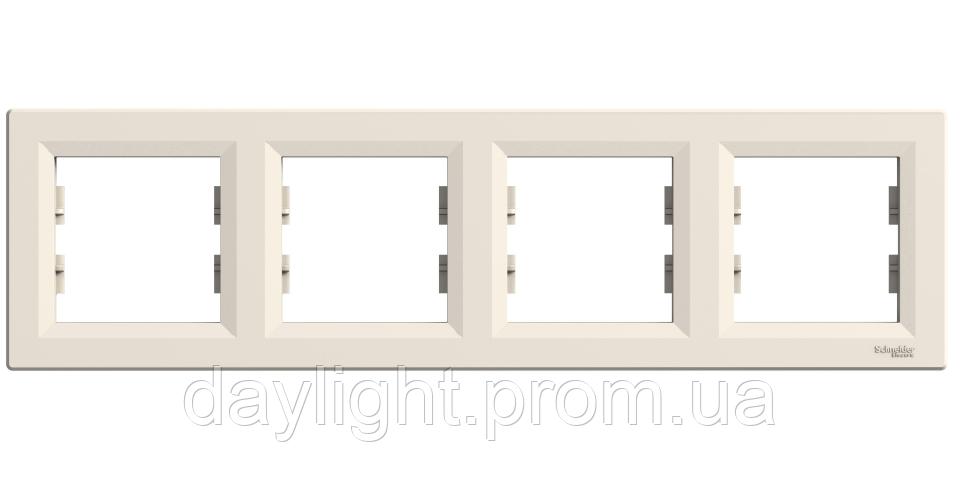 Рамка для розетки 4-я белый Schneider Electric Asfora