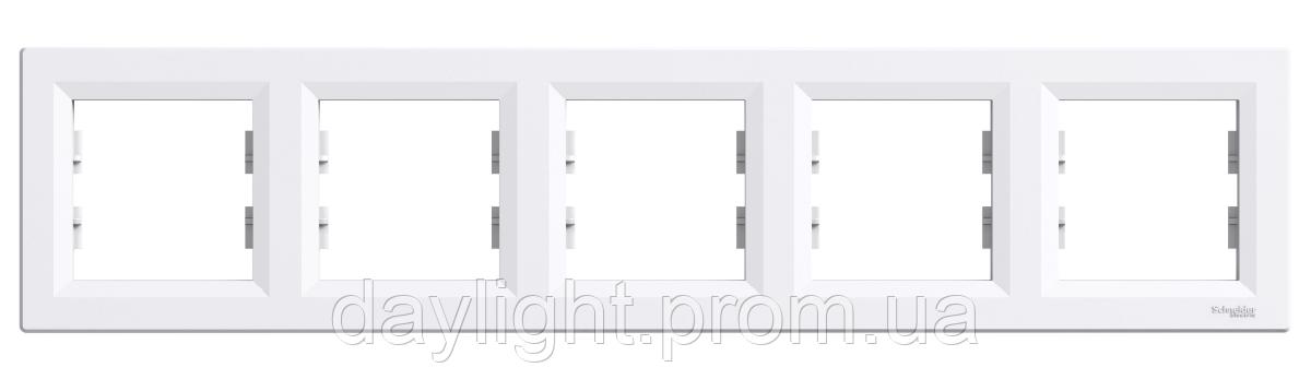 Рамка для розетки 5-я белый Schneider Electric Asfora