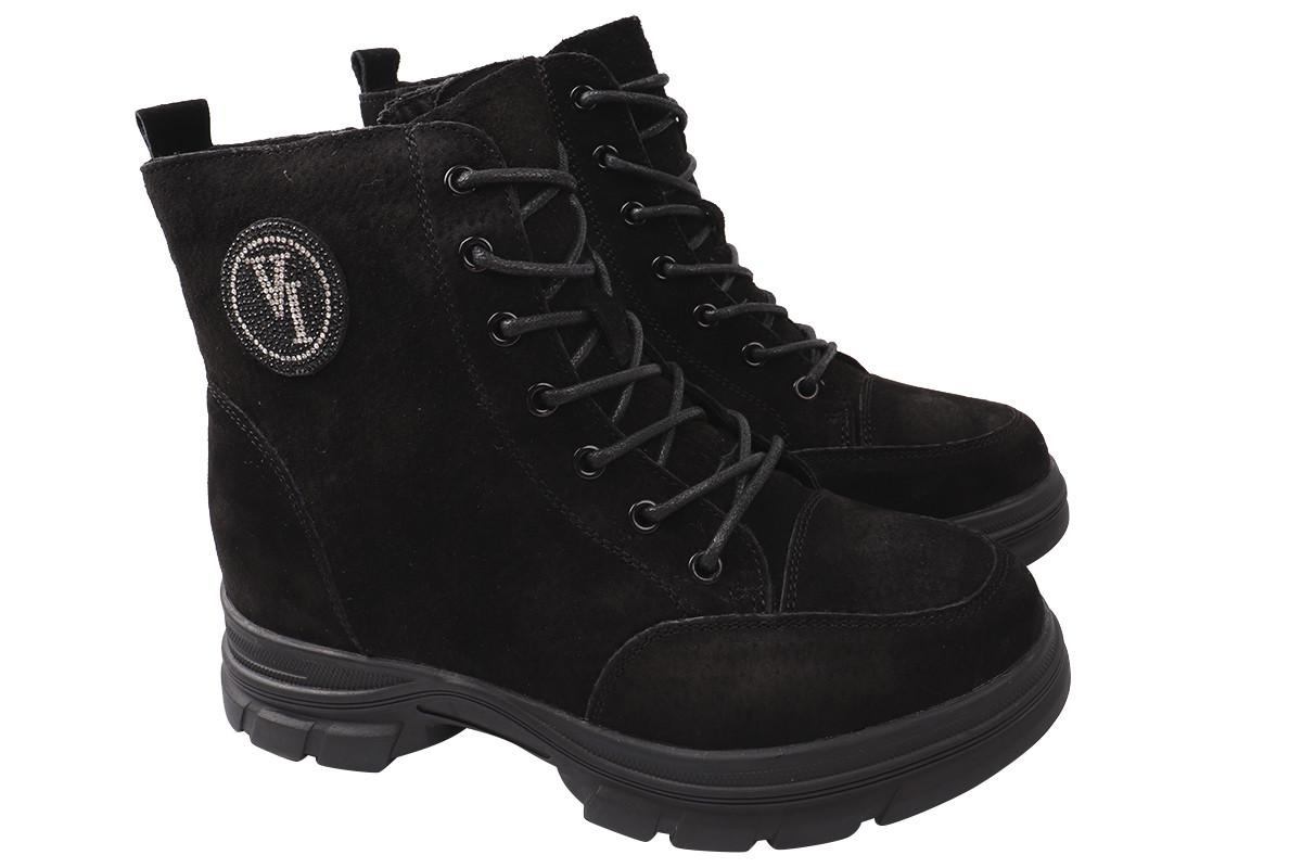 Ботинки женские зимние на платформе из натурального нубука, черные Vikonty
