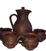 Набор кувшин с чашкам из красной глины с резкой 2л. (4 чашки)