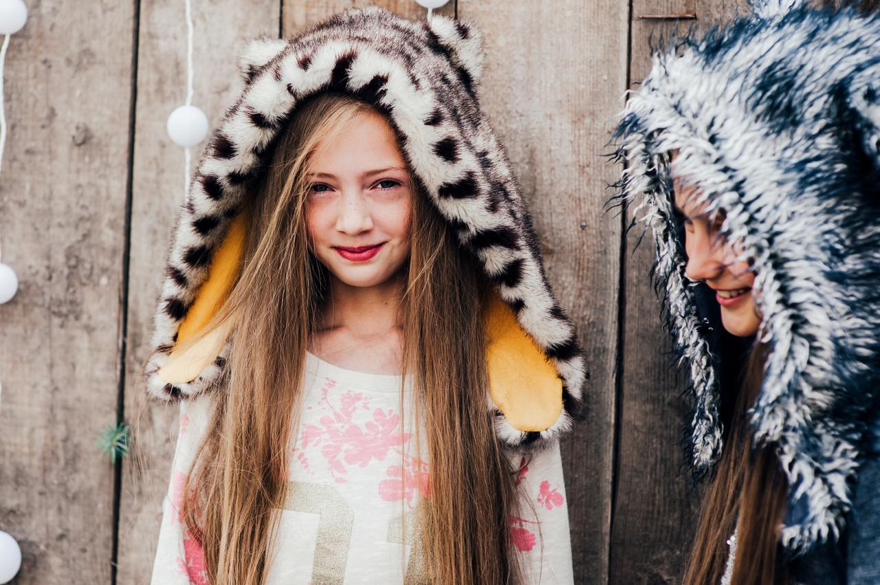 Детская шапка зимняя для девочек НЕБРАСКА (набор) оптом,леопард